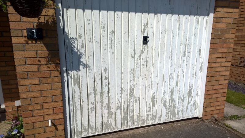 Sanding and Painting Garage Door - Page 1 - Homes, Gardens and DIY on best paint for garage door, paint my garage door, paint that looks like wood stain door, spray paint garage door, paint faux wood garage door,